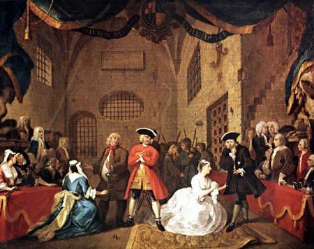 William Hogarth - Szene aus der 'Bettleroper' von John Gay
