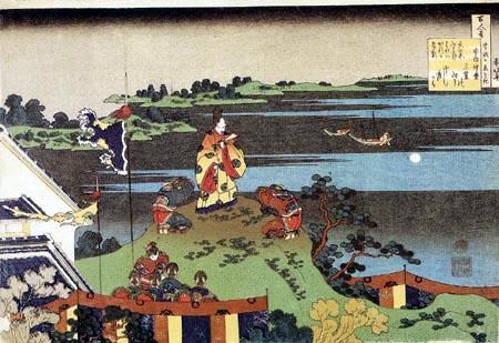 Katsushika Hokusai - Abe no Nakamaro regardant la lune du haut d´une colline
