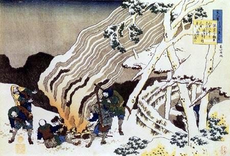 Katsushika Hokusai - Chasseurs autour d´un feu dans un paysage de neige
