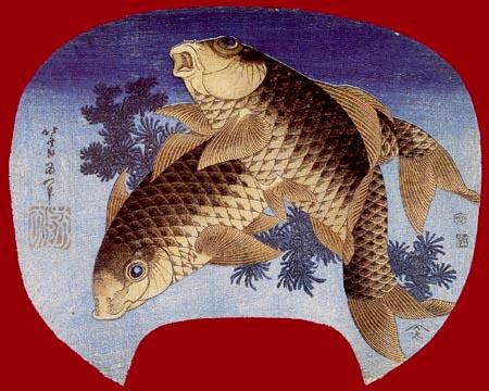 Katsushika Hokusai - Two carp in algae