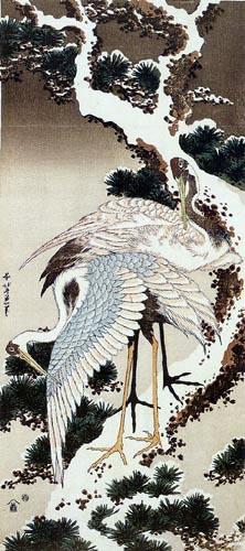 Katsushika Hokusai - Two cranes on a pine tree with snow
