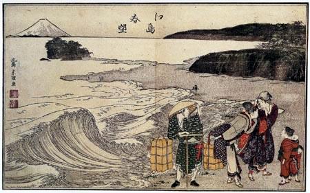 Katsushika Hokusai - Frauen am Strand von Enoshima