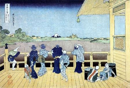 Katsushika Hokusai - People on the balcony of the Temple of Gohyakurakan