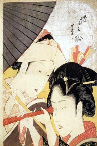Katsushika Hokusai - Jeune femme regardant au télescope
