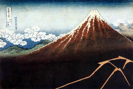 Katsushika Hokusai - L´orage sous le sommet de Mont Fuji