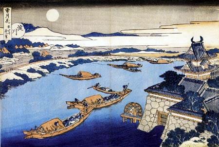 Katsushika Hokusai - Der Mond über dem Fluss Yodo und der Burg von Osaka