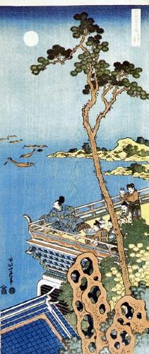 Katsushika Hokusai - Le poète Abe no Nakamaro contemplant la lune d´une terrasse