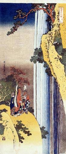 Katsushika Hokusai - The poet Li Po admiring the cascade of Lo-Shan