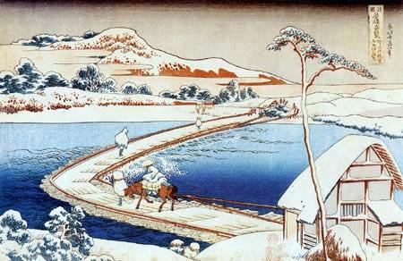 Katsushika Hokusai - The floating bridge Sano in the province of Kosuke in winter