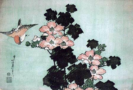Katsushika Hokusai - Mandeleibisch und Sperling
