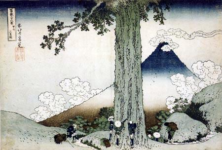 Katsushika Hokusai - Measurement of a cedar in Mishima in the province of Kai