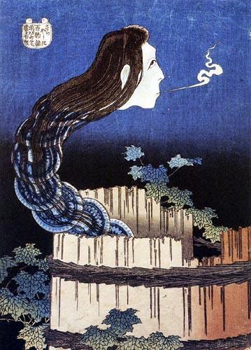 Katsushika Hokusai - Okiku, das Tellerschreckgespenst