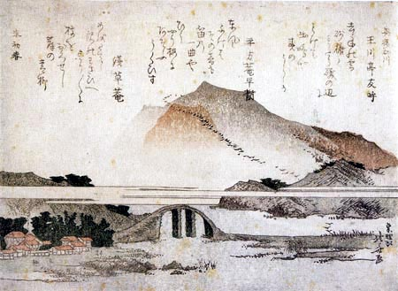 Katsushika Hokusai - Berglandschaft mit Brücke