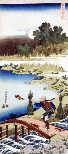 Katsushika Hokusai - Bauer überquert eine Brücke mit geplückten Binsen