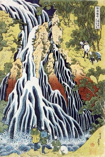 Katsushika Hokusai - Pilger am Wasserfall von Kirifuri in der Provinz Shimotsuke