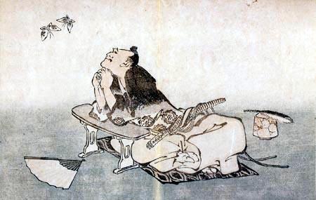 Katsushika Hokusai - Ein Philosoph beobachtet zwei Schmetterlinge