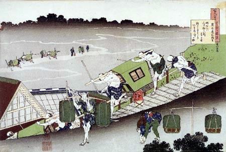 Katsushika Hokusai - Porteurs de palanquin descendant une route escarpée
