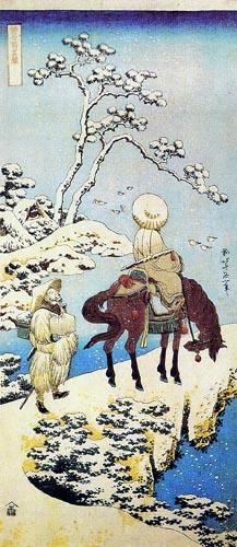 Katsushika Hokusai - Le poète Téba à cheval dans un Paysage de neige