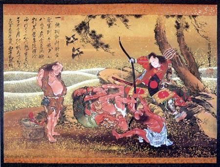Katsushika Hokusai - Tametomo and demons at Onigashima