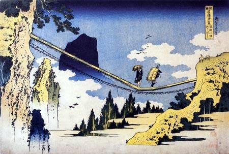 Katsushika Hokusai - Farmers crossing a suspension bridge at the border provinces Hida and Etchu