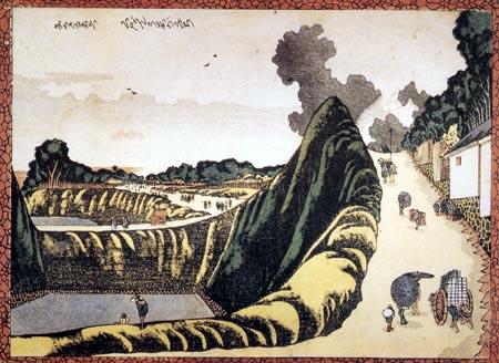 Katsushika Hokusai - Villagers on the road Ushigafuchi to Kudan
