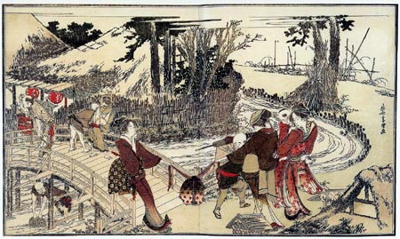 Katsushika Hokusai - Village près d´un pont