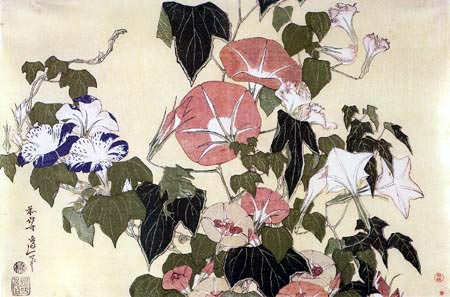 Katsushika Hokusai - Morning Glory and frog