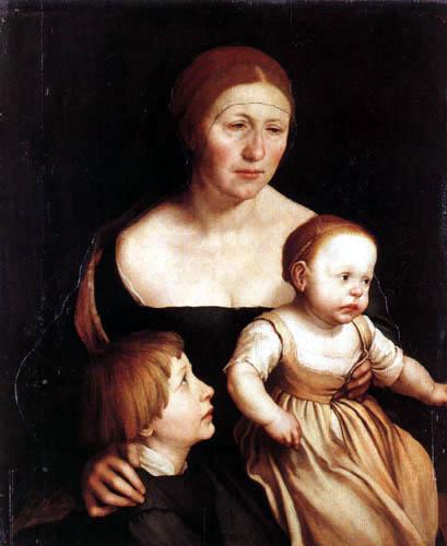 Hans Holbein der Jüngere - Holbeins Frau mit Philipp und Katharina