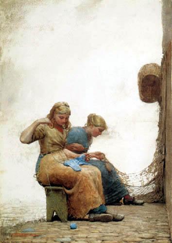 Winslow Homer - Das Flicken der Netze