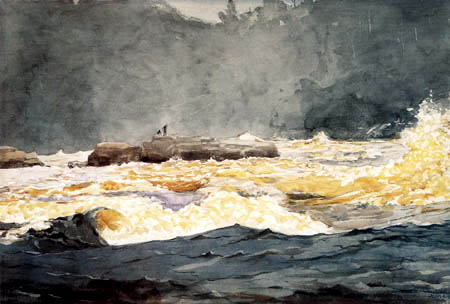 Winslow Homer - Fishing in the Rapids, Saguenay