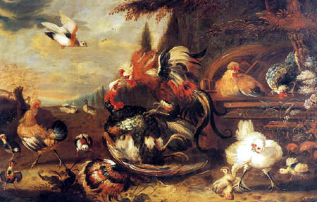 Melchior d´ Hondecoeter - A cock and turkey fighting in a Farmyard