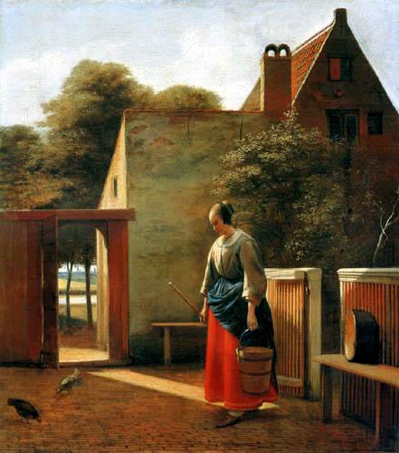 Pieter de Hooch - Eine Magd im Hinterhof