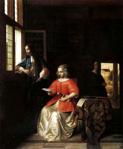 Pieter de Hooch - Junge brieflesende Dame