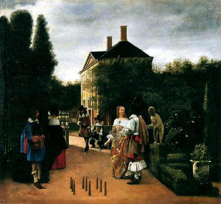 Pieter de Hooch - Elegant society bowling