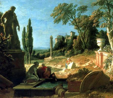 Michel-Ange Houasse - Landscape with statue