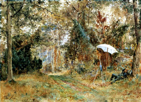 Paul Huet - Maler mit Staffelei im Wald