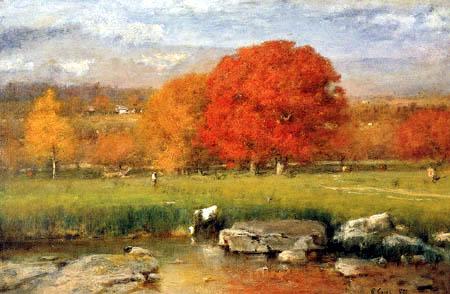 George Innes - Morgen in Catskill Valley, Die roten Eichen
