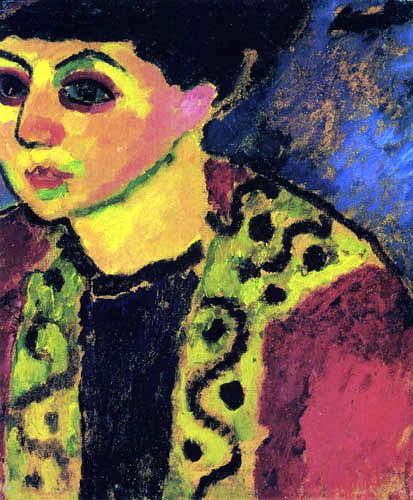 Alexej Georgewitsch Javlenski - Dame vor blauem Hintergrund