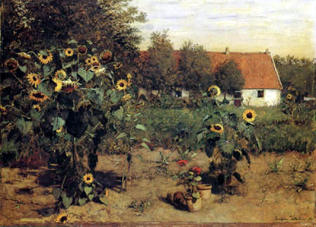 Eugen Jettel - Garden with Sunflowers