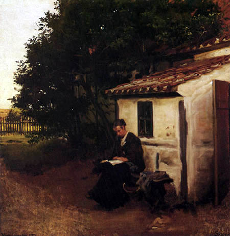 Viggo Johansen - The woman of the artist before their house in Skagen