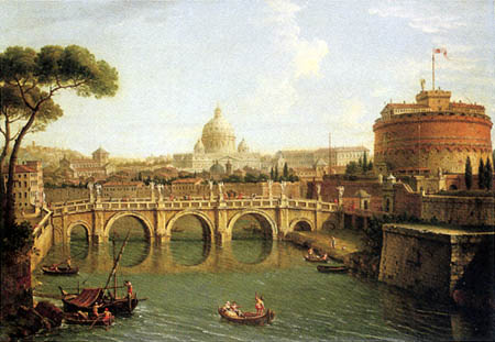 Antonio Joli - Rome, a view of the Tiber