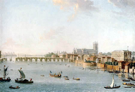 Antonio Joli - The Thames looking towards Westminster