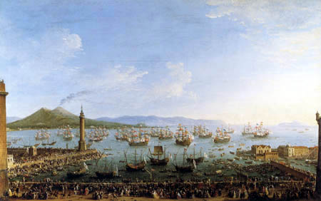 Antonio Joli - Embarkment of Carlos III in the port of Naples
