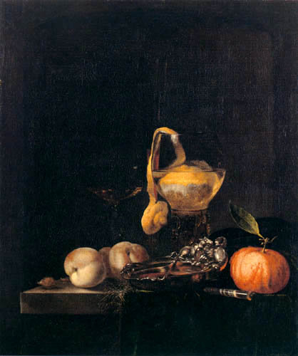 Willem Kalf - Silver bowl and glasses