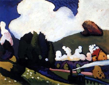 Wassily Wassilyevich Kandinsky -  Landscape near Murnau with Locomotive