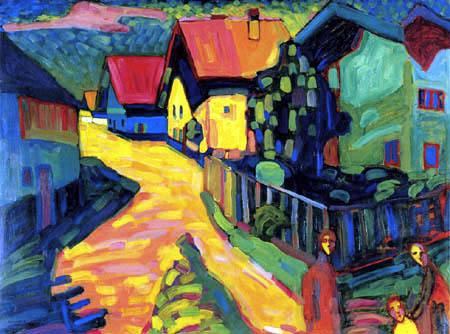 Wassily Kandinsky - Murnau, Straße mit Frauen