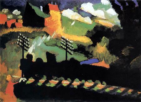 Wassily Kandinsky - Murnau, Aussicht mit Eisenbahn