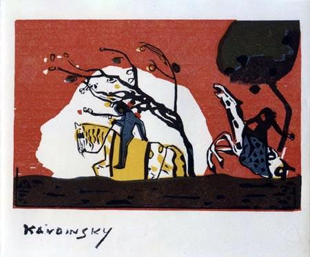 Wassily Kandinsky - Zwei Reiter auf rotem Grund
