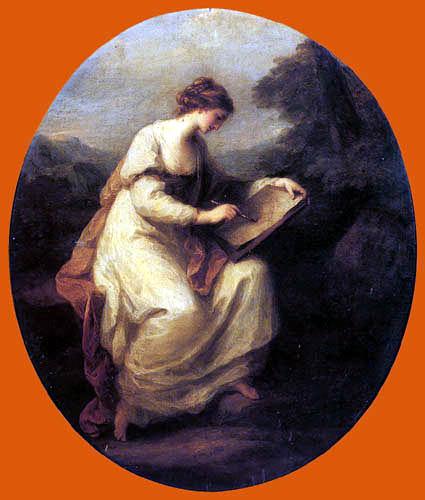 Angelica (Maria Anna Catharina) Kauffmann - A Lady sketching
