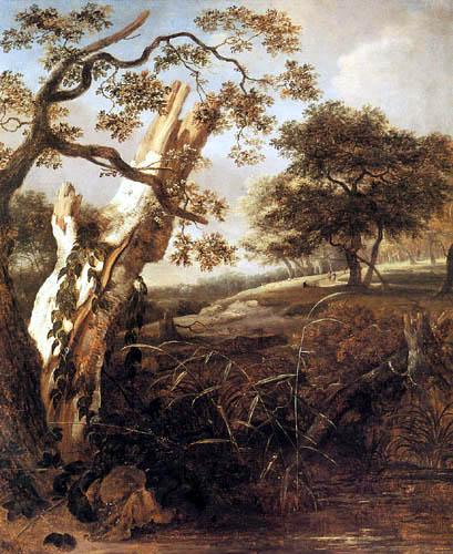 Jan van Kessel - Un tronçon de hêtre dans un paysage boisé